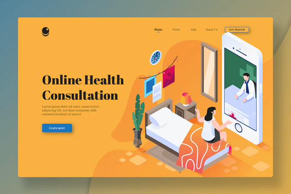 Online Health Consultation-Isometric Landing Page