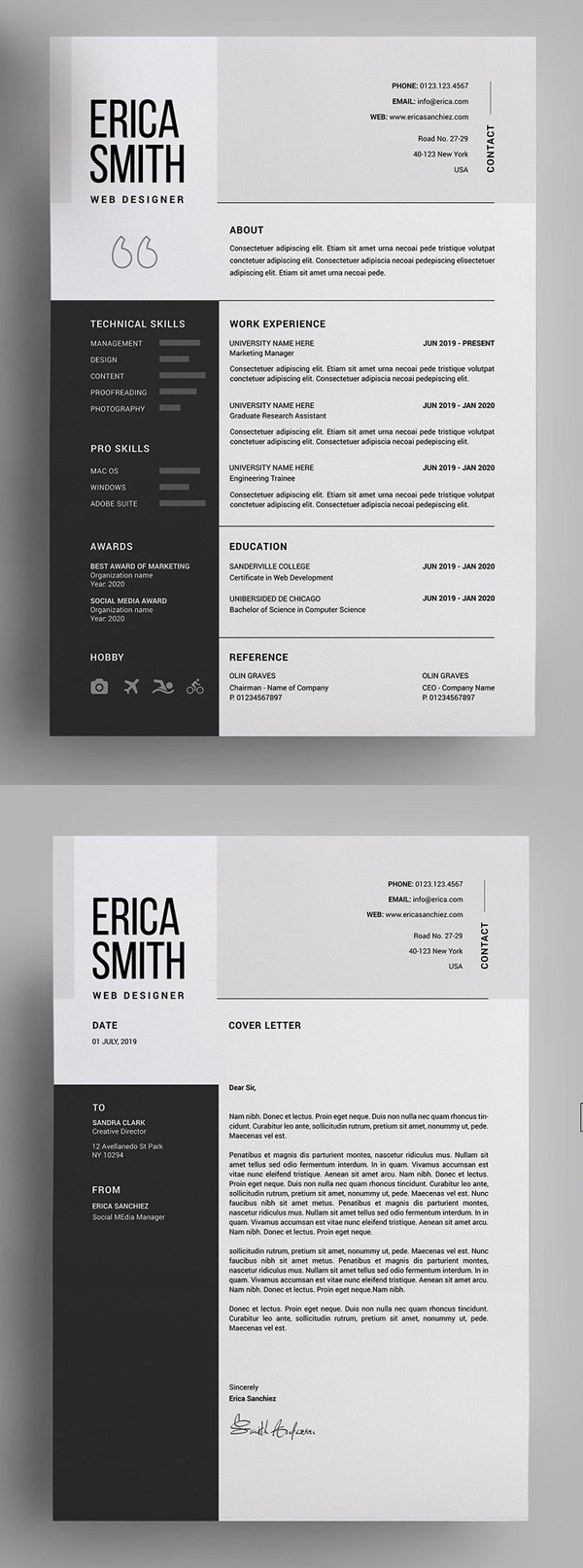 Clean, Modern and Professional Resume and Letterhead design