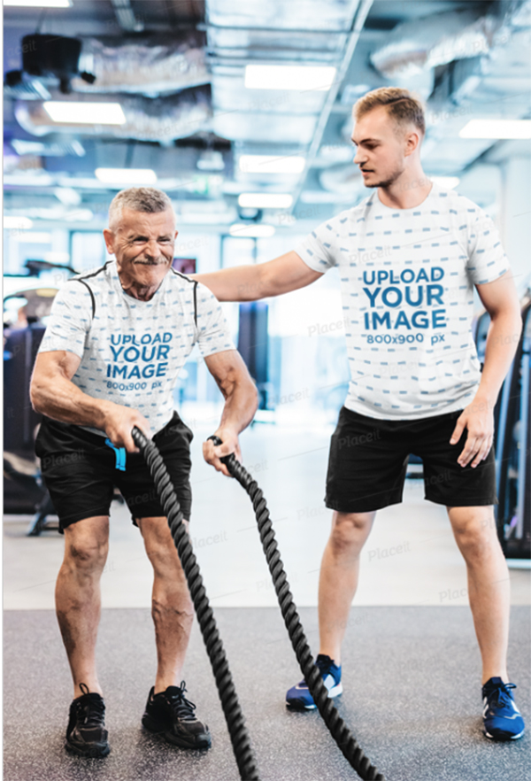 T-Shirt Mockup of A Coach Training an Elderly Man