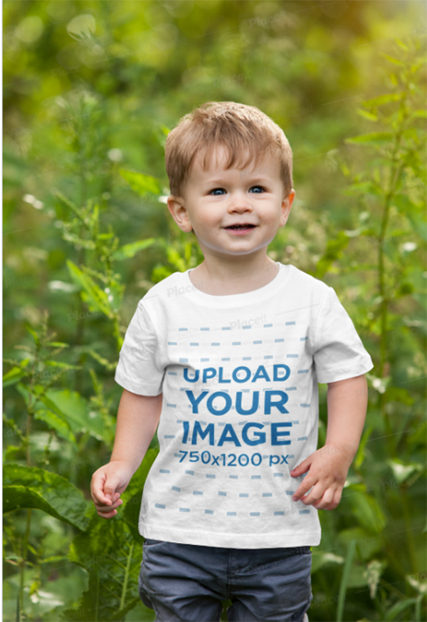 T-Shirt Mockup of A Toddler Walking in Nature