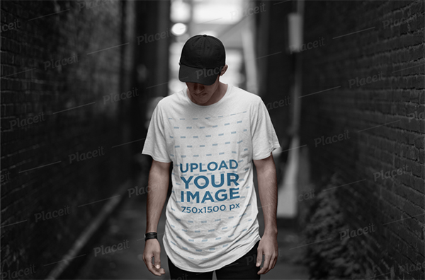 T-Shirt Mockup of A Cool Man Posing