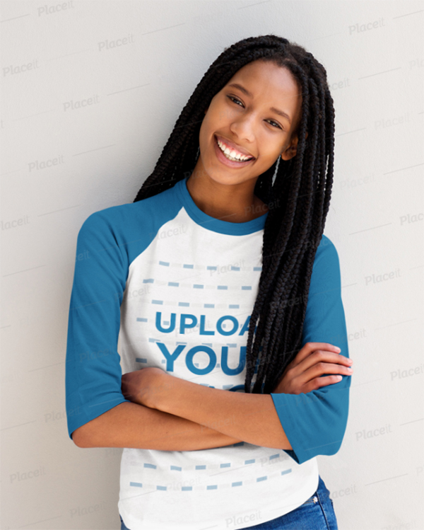 T-Shirt Mockup of A Smiling Woman