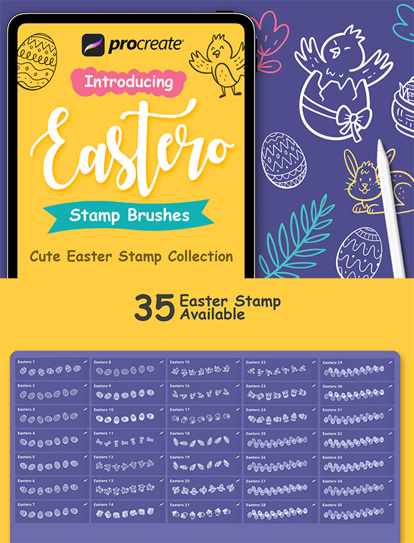 Easter Stamp - Procreate Brushes