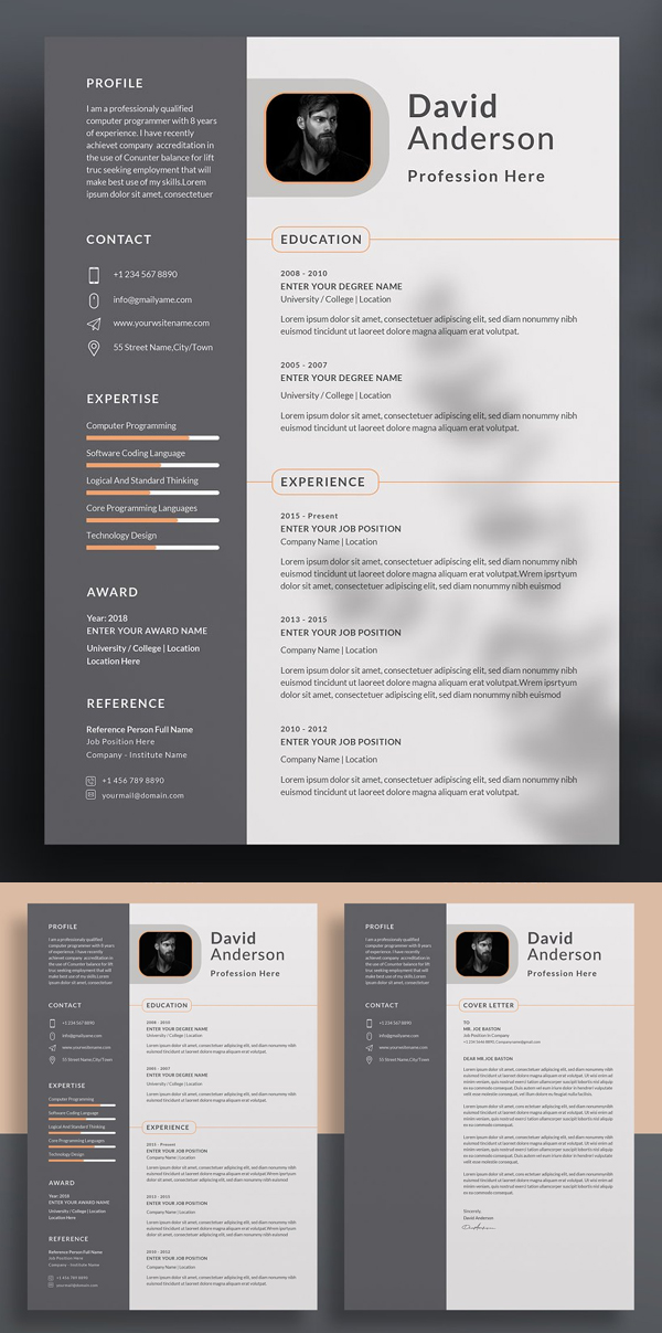Modern Resume / CV Word Template