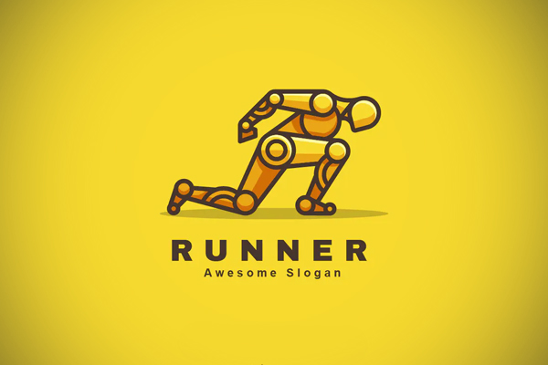 Robot Runner Color Line Logo