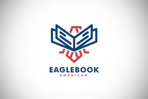Eagle and Book Line Art Style Logo