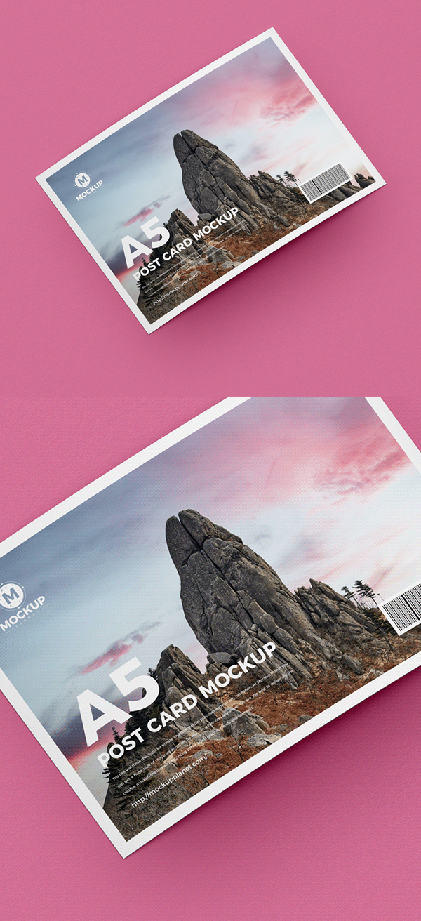 Free Post Card Mockup PSD