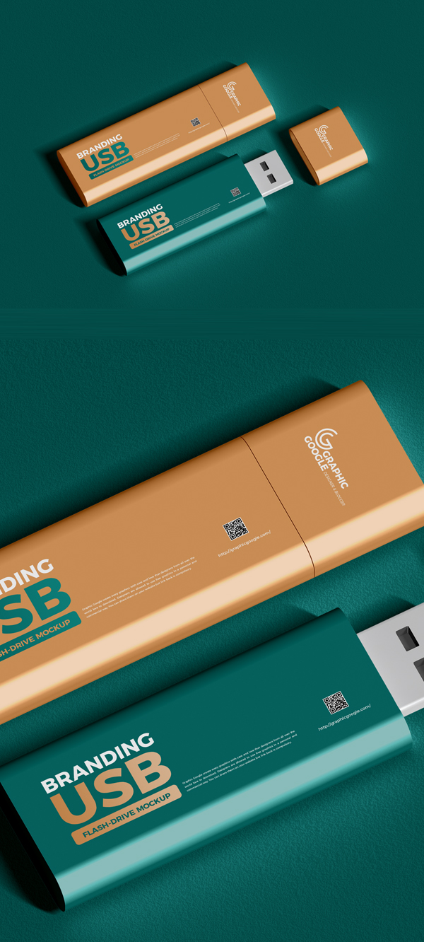Free USB Flash Drive Mockup PSD