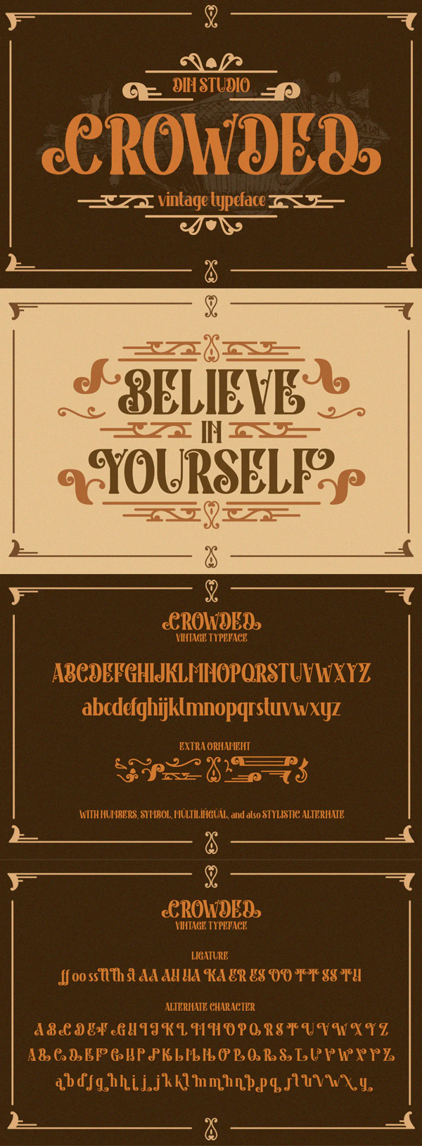 Crowded Vintage Font