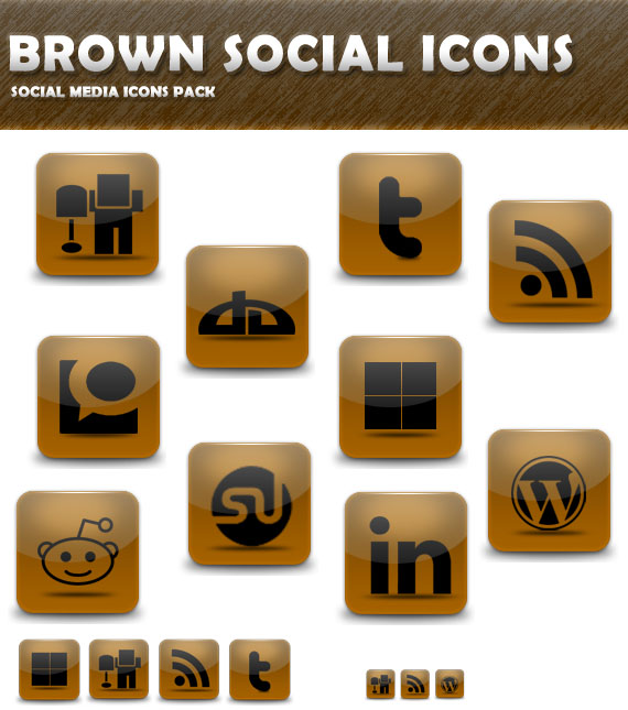 Brown Social Icon Pack Preview