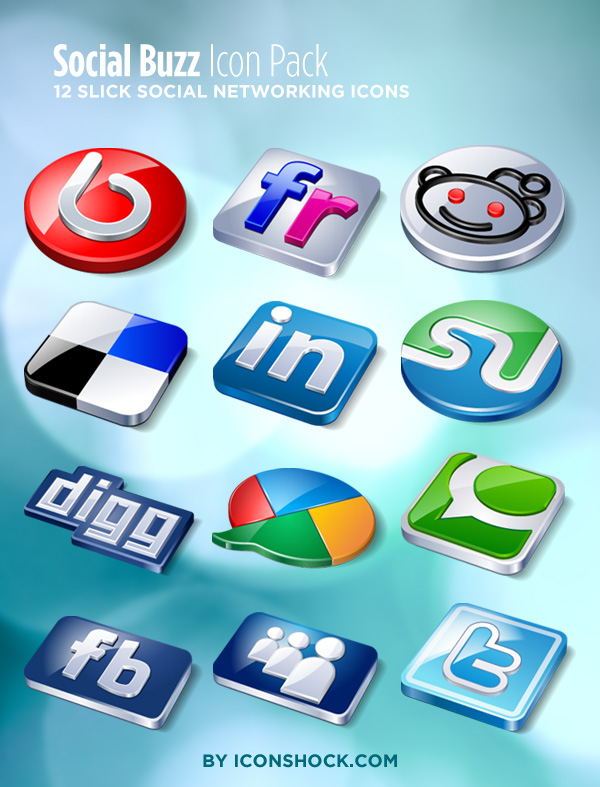 Social Buzz Bookmarking Icons Pack