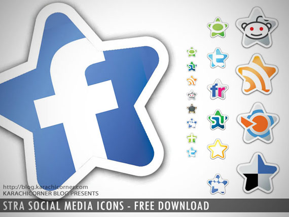 Stra shape Social media icons Preview
