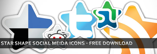 Download Free Star Shape Social Media Bookmarking Icons Set