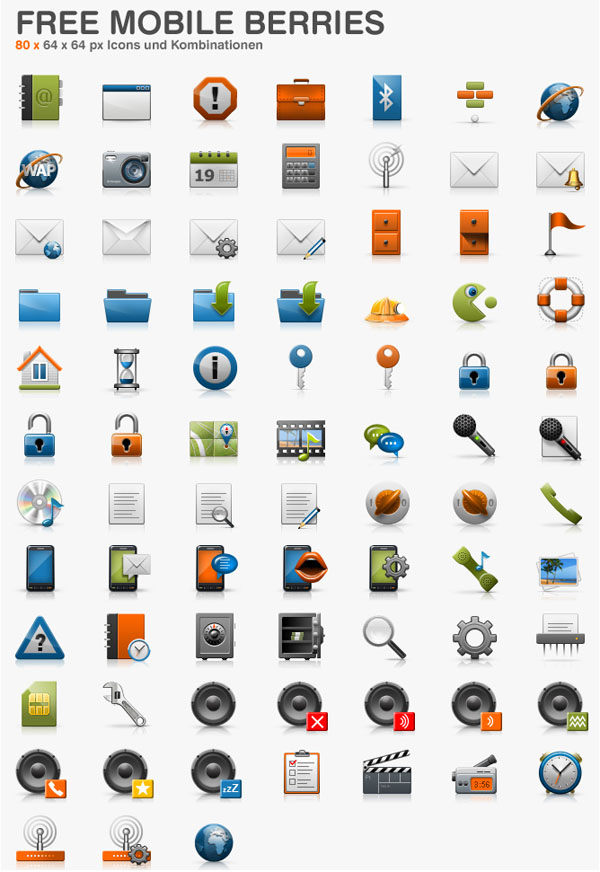 70+ Mobile Berries Icons Set