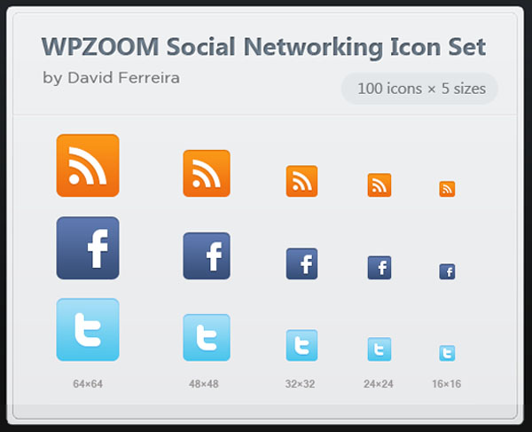 """500 Vector Social Networking Icon Set """"WPZOOM"""""""