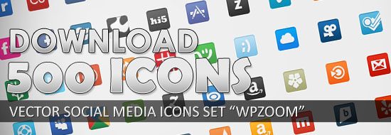 """Free Download 500 Vector Social Networking Icon Set """"WPZOOM"""""""
