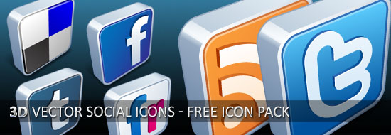 Download 3D Vector Social Icons – Free Icon Pack