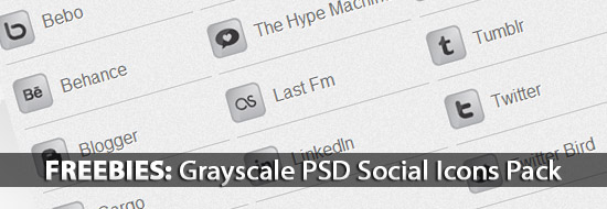 Freebies: Download Grayscale PSD Social Icons Pack: LinkDeck