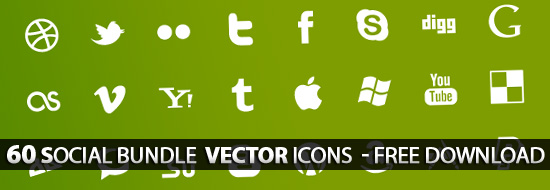 Vector Icons: 60 Free Social Bundle Vector Icons