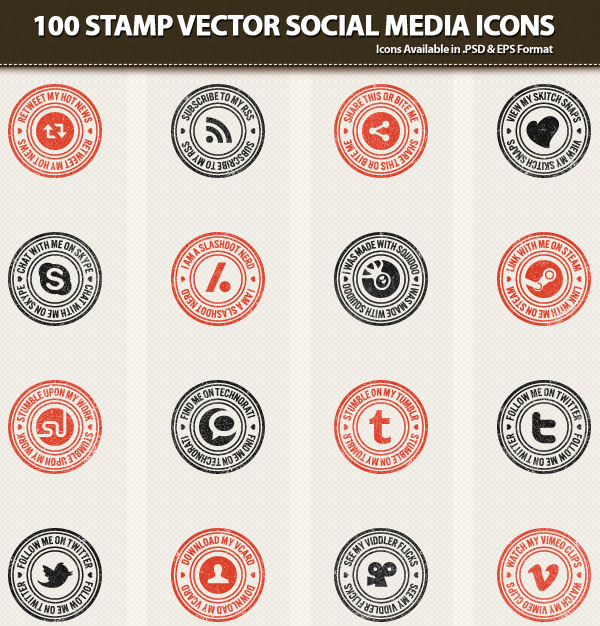 Stamp Vector Social Media Icons