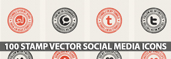 100 Stamp-Like & Vector Social Media Icons