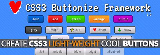 CSS3 Buttonize Framework: Create Light-Weight Cool Buttons