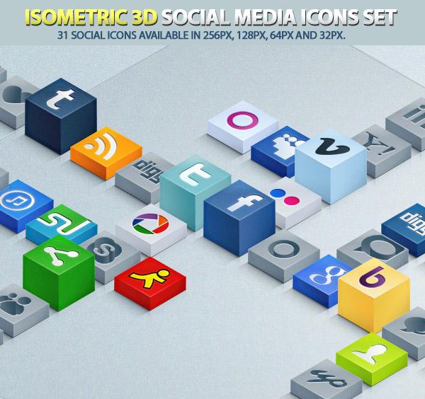 Isometric 3D Social Media Icons Set