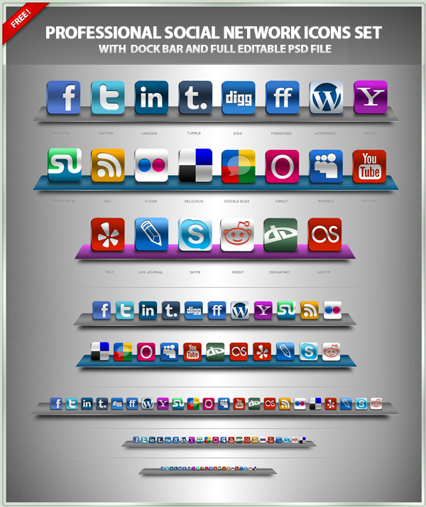 Free Professional Icons Set - Social Networks Icons