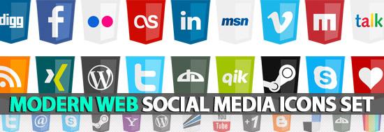 Post image of Web Social Icons Set – HTML5 Logo Style