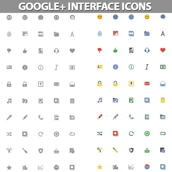 Google+ Interface Icons Set