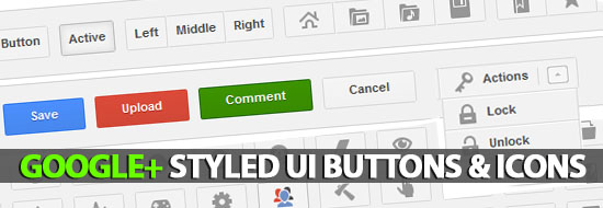 Google+ Styled UI Buttons, Icon Buttons & Dropdown Menu Buttons
