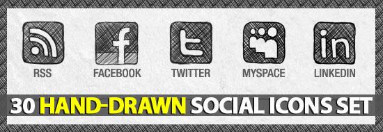 Freebie: Hand-Drawn Social Media Icons Set
