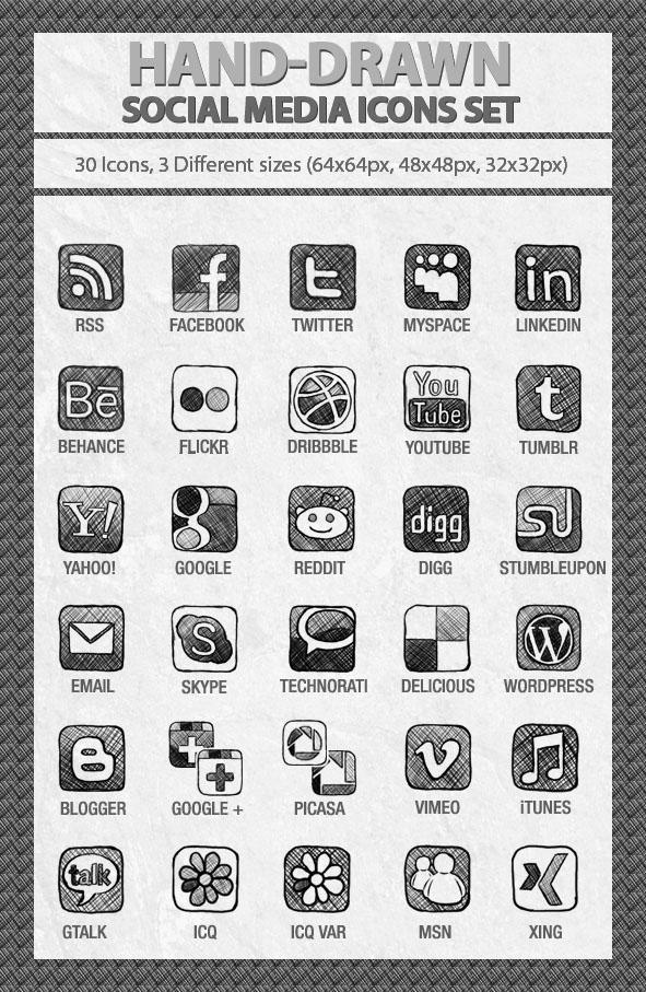 Hand-Drawn Social Media Icons Set