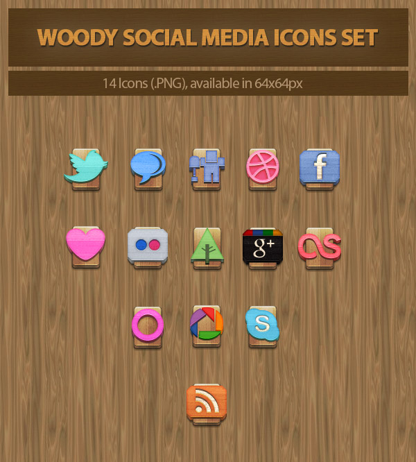 Woody Social Media Icons Set