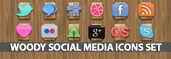 Freebie: Woody Social Media Icons Set