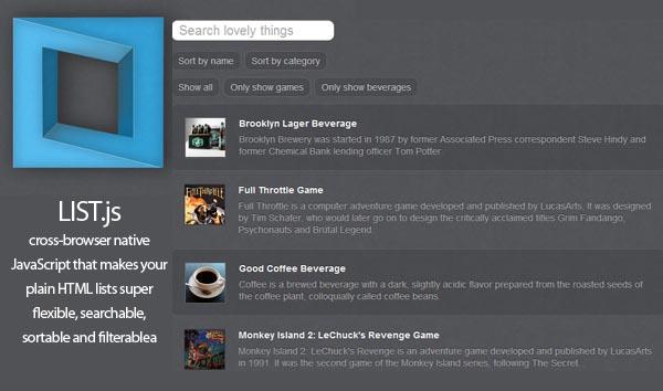 Listjs  Cross-Browser JavaScript Library For Flexible Lists