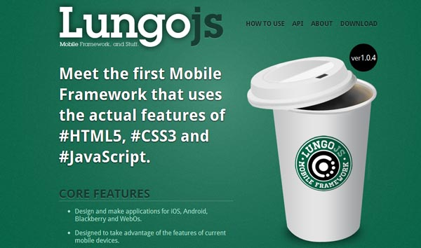 HTML5 and CSS3 Mobile Framework Lungo js