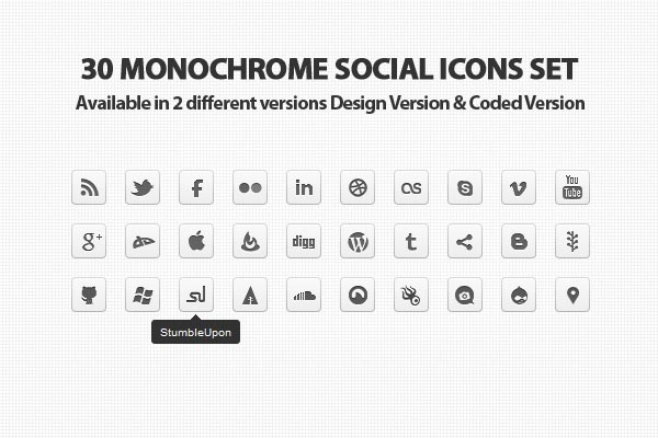 Monochrome Social Icons