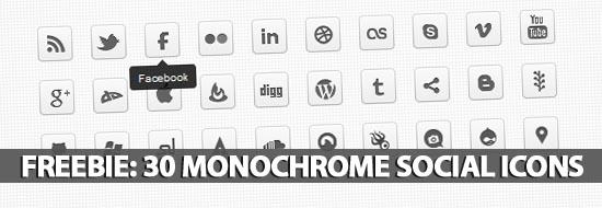 Freebie: 30 Monochrome Social Icons