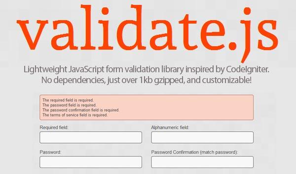 Lightweight Form validation Library Validate js