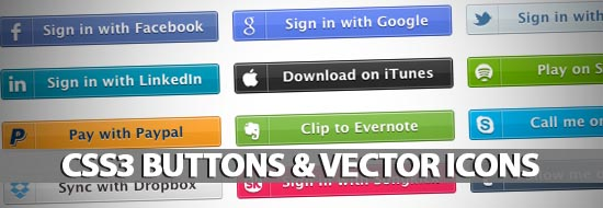 40+ CSS3 Buttons & Vector Icons