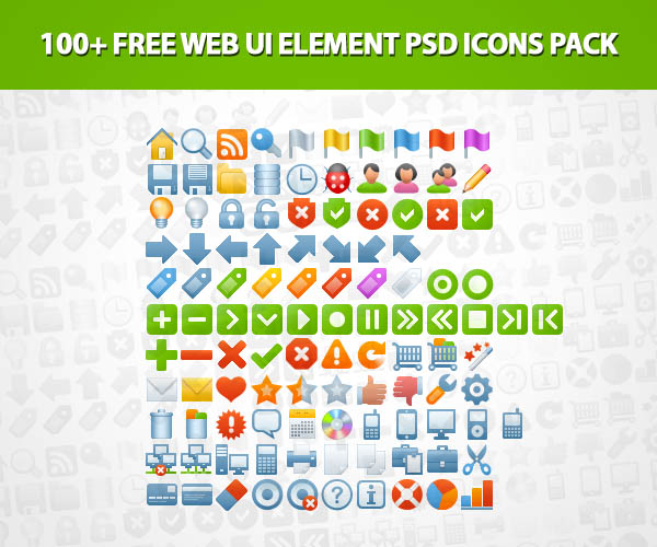 Free Web UI Element PSD Icons Pack