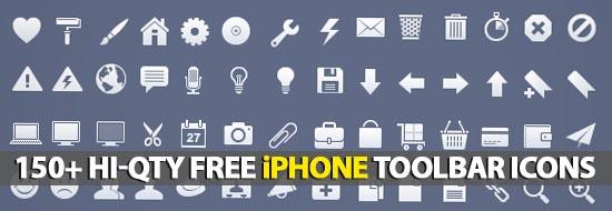 150+ Hi-Qty Free iPhone Toolbar Icons