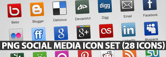 PNG Social Media Icon Set (28 Icons)