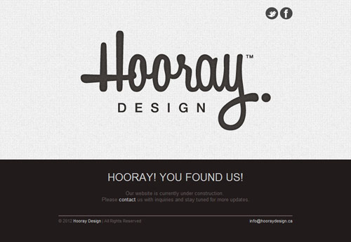 Hooray Design Coming Soon Page Design