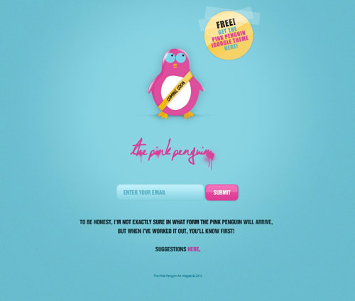 The Pink Penguin Coming Soon Page Design
