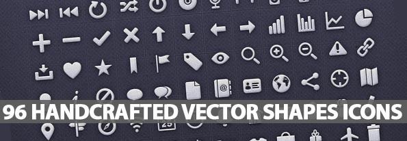96 Handcrafted Vector Shapes Icons Set