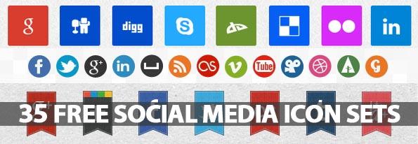 Free Social Media Icons (34 Sets)