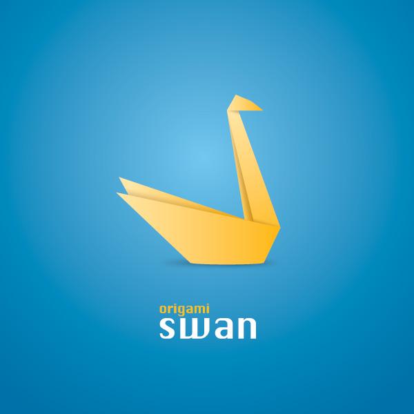 Origami Swan Vector Graphic
