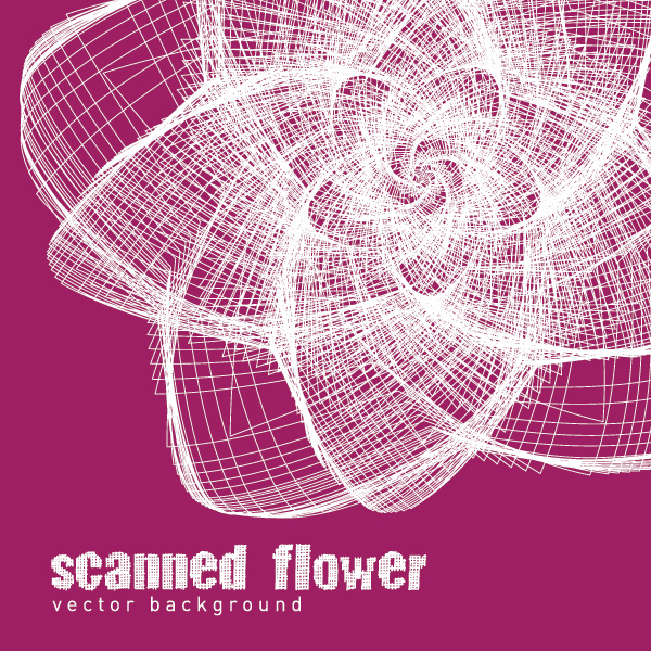 Scanned Flower Vector Graphic